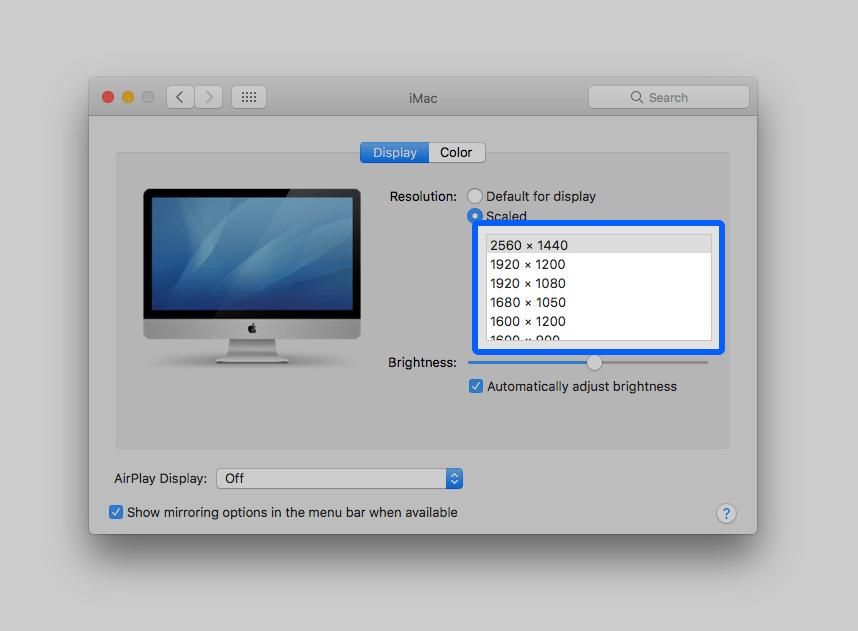 screen resolution